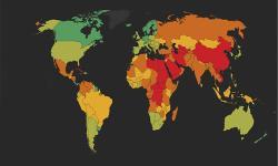 mapa del mundo con colores que representan el índice
