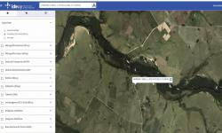 Geoservicios imagen del geoportal con búsqueda de direcciones. Panel con menú a la izquierda.