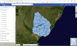 Cuencas hidrográficas mapa de Uruguay visto desde el visualizador de IDEuy