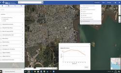 Visualizador IDEuy herramienta para calcular perfil de elevación, se observa zona del Cerro de Montevideo