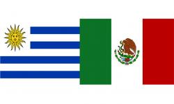 Banderas de Uruguay y México