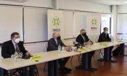 Doctor Guillermo Fossati, ministro de Educación y Cultura, Pablo da Silveira, presidente del INEEd Javier Lasida y…