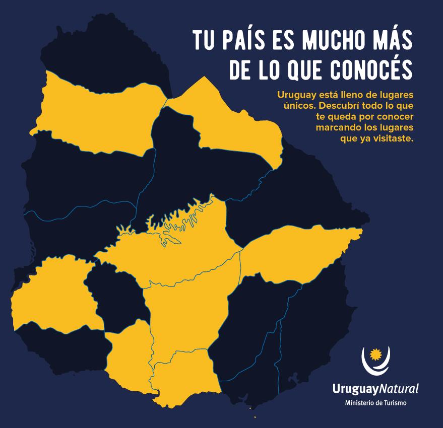 Mapa raspable de Uruguay por departamento