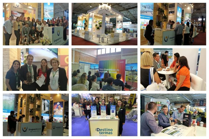 Collage de fotos donde se muestra el stand, reuniones y atención de las consultas durante la Festitur