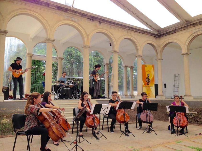 Músicos tocando el violín y otros instrumentos en el Parque Rodó, Ideas +