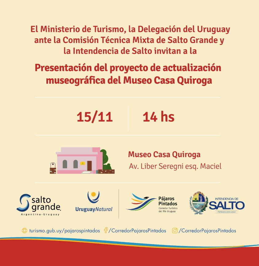 Invitación Museo Casa Quiroga, 14:00 horas, Av Líber Seregni, esquina Maciel