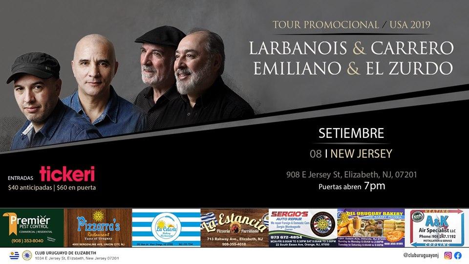 Afiche de Larbranois & Carrero y Emiliano & El Zurdo, actuarán el 8 de setiembre a las 19:00