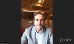Ministro de Turismo, Germán Cardoso, inaugurando Mesa Virtual organizada por UCLAEH