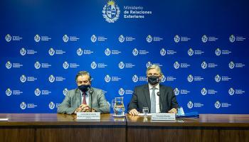 Ministro de Ganadería, Carlos María Uriarte y canciller de la República, Francisco Bustillo