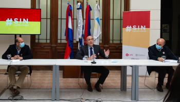 Pablo Abdala y ministros Pablo Mieres y Martín Lema