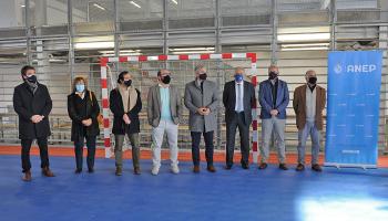 Robert Silva y Sebastián Bauzá en inauguración de polideportivo