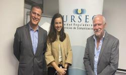 Foto de la Comisión Directiva de URSEC: Pablo Siris, Mercedes Aramendía y Gustavo Delgado